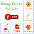 Funny fruits for children education Royalty Free Stock Images