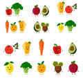 Funny fruits set. Cute fruits and vegetables collection. Cartoon food characters. Vector illustration. Isolated on white.