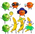Funny fruits. Tangerine, apple and banana character have summer fun and beach activity