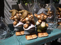 Funny garden gnome dwarf classical vintage on display Stock Photography