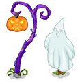 Funny ghost and magical tree with carving pumpkin