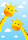 Funny giraffes on sky background Royalty Free Stock Photo
