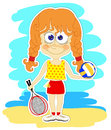 Funny girl with ball and rackets redhead volleyball for badminton on the beach Stock Photo
