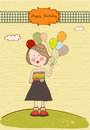 Funny girl with balloon, birthday greeting card Stock Image