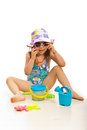 Funny girl with beach toys Royalty Free Stock Photo