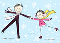 Funny girl with boy on winter background Stock Photo