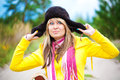 Funny girl in cap with ear flaps Royalty Free Stock Photo