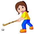 Funny girl cartoon playing hockey Royalty Free Stock Photo