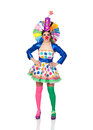 Funny girl clown with a big colorful wig isolated on white background Stock Photos