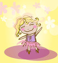 Funny girl dancing vector image with smiling like ballerina Stock Photography
