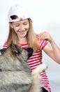 Funny girl and Dog
