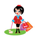 Funny girl dog go shopping sale time Stock Images