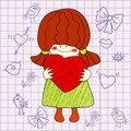 Funny girl drawing of with heart in hands the idea for valentines Stock Image