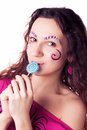 Funny girl eating lollipop Stock Photo