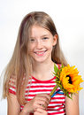 Funny girl  flower bouquet Stock Image