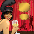 Funny girl with glass of champagne cabaret dancers smiling female she wore a black pen behind the red curtain two dancer poster Stock Image
