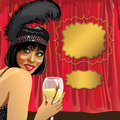 Funny girl with glass of champagne red curtain cab smiling female she wore a black pen behind the cabaret dancer poster template Royalty Free Stock Image