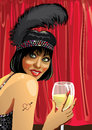 Funny girl with glass of champagne.Red curtain.Cabaret.Illustrat Stock Image