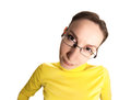 Funny girl glasses isolated white Royalty Free Stock Photography