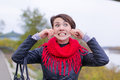 Funny girl in red scarf oudoor autumn day Royalty Free Stock Photos