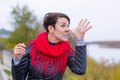 Funny girl in red scarf oudoor autumn day Stock Images
