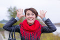 Funny girl in red scarf oudoor autumn day Royalty Free Stock Image