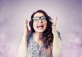 Funny girl screaming in the smoke grimace portrai portrait on background Royalty Free Stock Photography