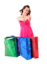 Funny girl with shopping bags Stock Photography