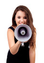 Funny girl shouting with a megaphone isolated on white background Stock Photos