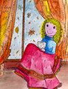 Funny girl siting near the window picture is drawn by pen and painted by watercolor on paper Stock Images