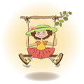 Funny girl in a swing Royalty Free Stock Image