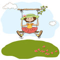 Funny girl in a swing Stock Photography