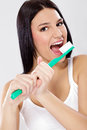 Funny girl with toothbrush Royalty Free Stock Photos