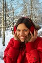 Funny girl in winter park Royalty Free Stock Photos