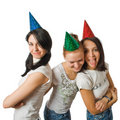 Funny girls in fool caps Stock Photos