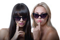 Funny girls in sun glasses studio portrait of two cute beautiful young women models wearing holding hands near lips and chin Stock Image