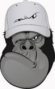 Funny gorilla in a baseball cap vector illustration Stock Photography