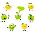 Funny green Apple fruit characters on white Stock Photo