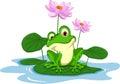 funny Green frog cartoon sitting on a leaf