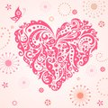 Funny greeting card with abstract pink heart Royalty Free Stock Photo