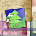 Funny greeting cards santa and elfs in colorful background Stock Images