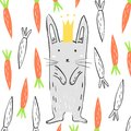 Funny grey rabbit in the crown surrounded by carrots. Illustration about animals for children design. Cartoon style