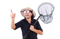 Funny guy with catching net on white Royalty Free Stock Images
