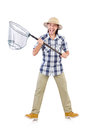 Funny guy with catching net on white Stock Images