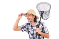 Funny guy with catching net on white Stock Image