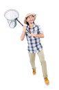 Funny guy with catching net on white Royalty Free Stock Photo