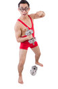 Funny guy exercising with dumbbells on white Stock Photography