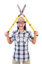 Funny guy with garden shears on white Royalty Free Stock Image