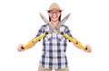 Funny guy with garden shears on white Royalty Free Stock Photography