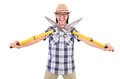 Funny guy with garden shears on white Stock Photo